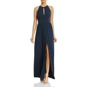 New! MICHAEL KORS Side-slit Jersey Maxi Dress Blue